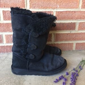 UGG Black Boots Button Sides Size 5
